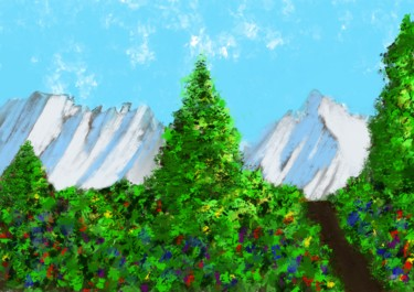 Bergsicht mit Bäumen