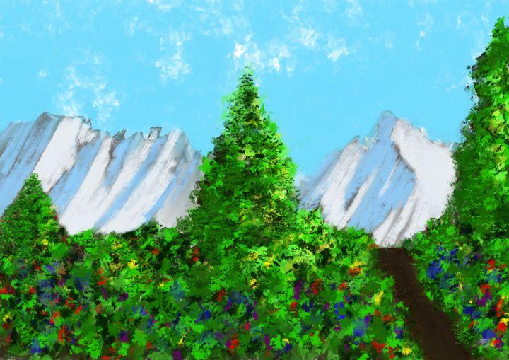 Keep Magic - Bergsicht mit Bäumen